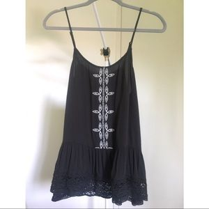 Dark Grey Mossimo Tank with White Embroidery